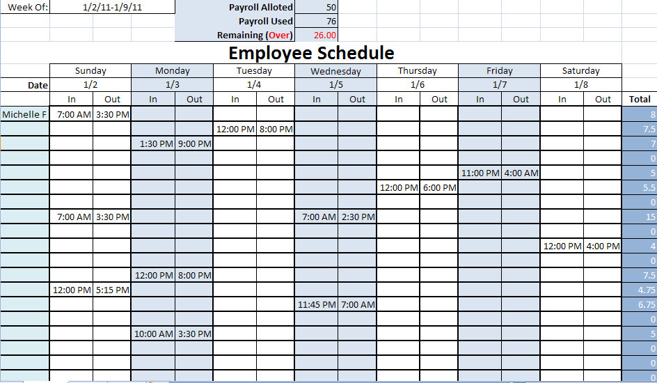 printable work schedules