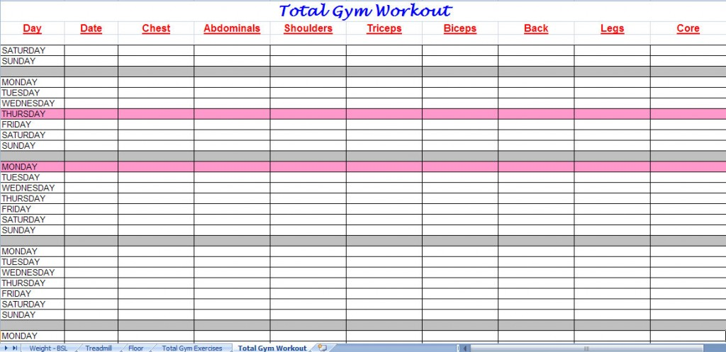 Workout Program Sheet A Lot Of Free WorkoutExerciseWeight