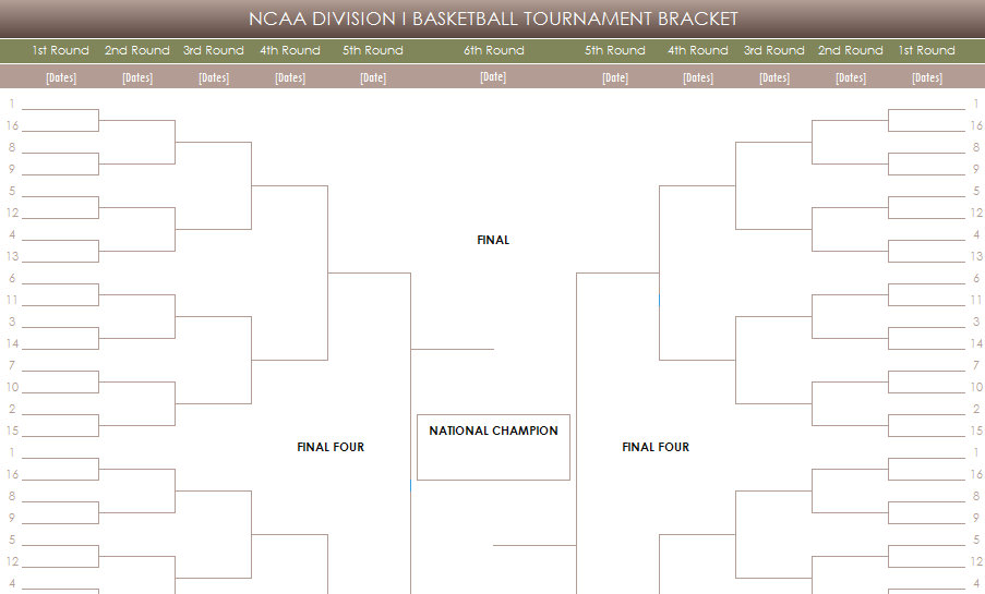 Printable ncaa tournament brackets ncaa mens basketball for Tournament spreadsheet template