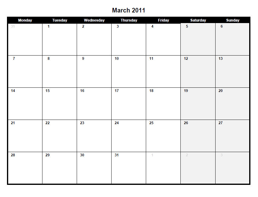 Download this Printable PDF March 2011 calendar by clicking the image or