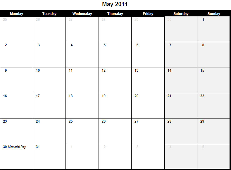 Monthly Printable Blanks | New Calendar Template Site