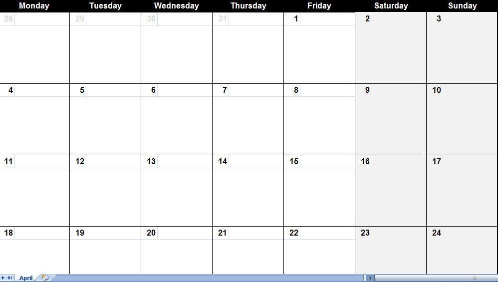 This one page printable April 2011 calendar contains areas large enough to