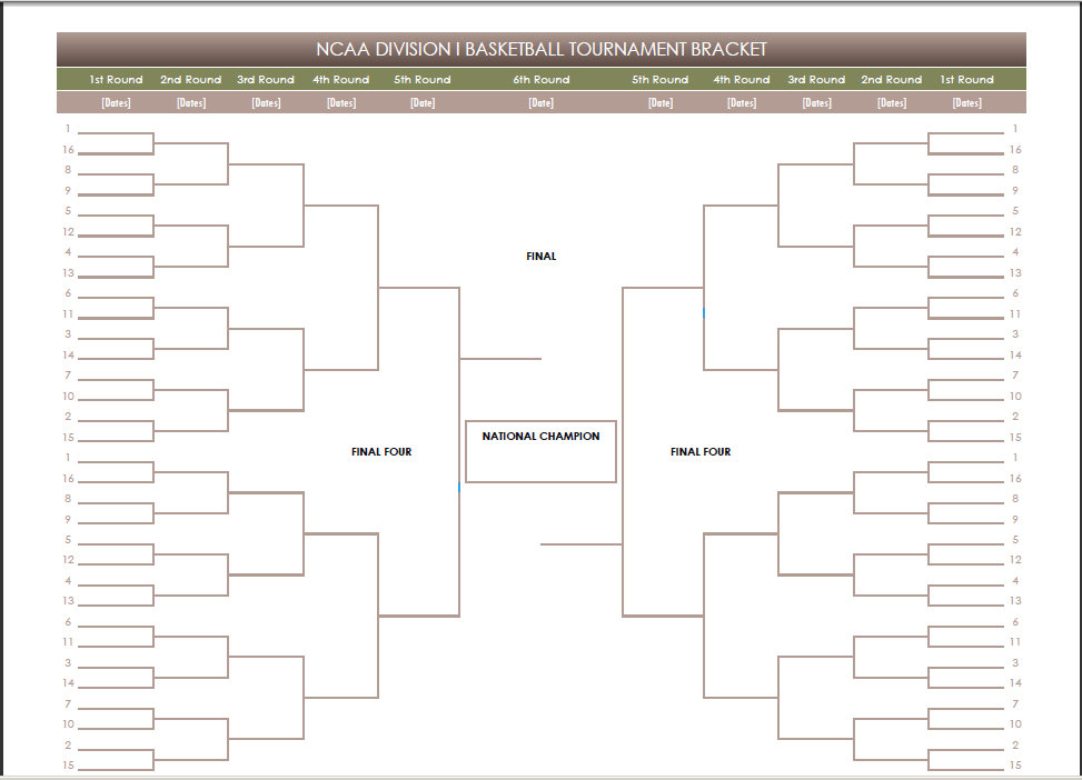 2016 Printable Blank PDF Free March Madness Emailable Bracket