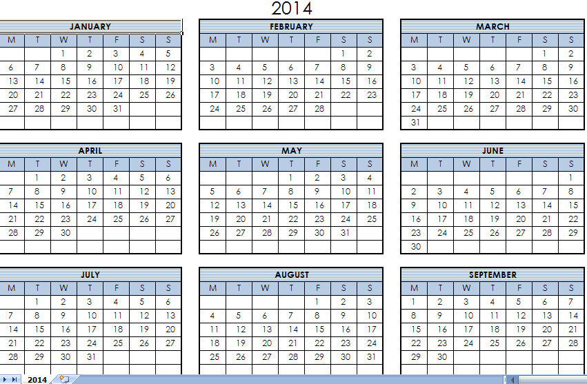2014 printable one page calendar yearly excel template xlsx 2014