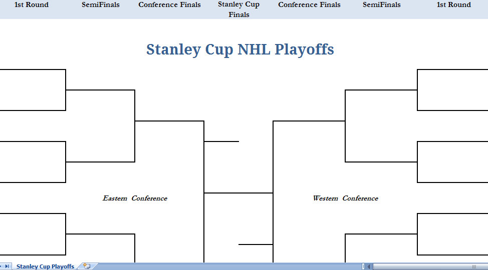 Printable Blank NHL Hockey Playoffs Stanley Cup Excel Template
