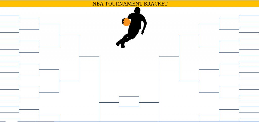 image relating to Nba Playoffs Printable Brackets identified as Printable Blank PDF NBA Playoffs Bracket