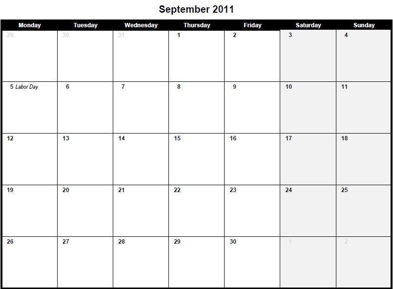 calendar september 2011. Printable PDF September 2011