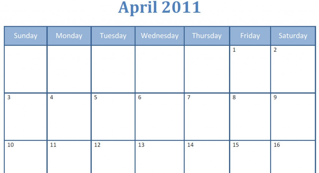 Printable blank pdf April 2011 monthly calendar
