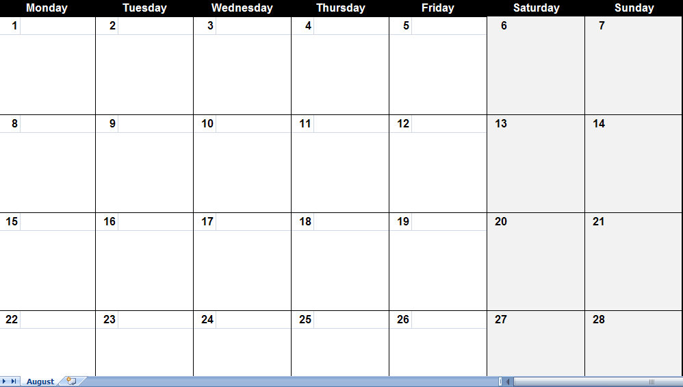 august 2011 Printable Monthly Calendar Template