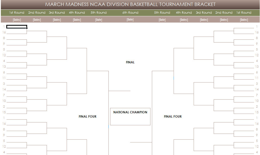 free printable pdf march madness ncaa brackets