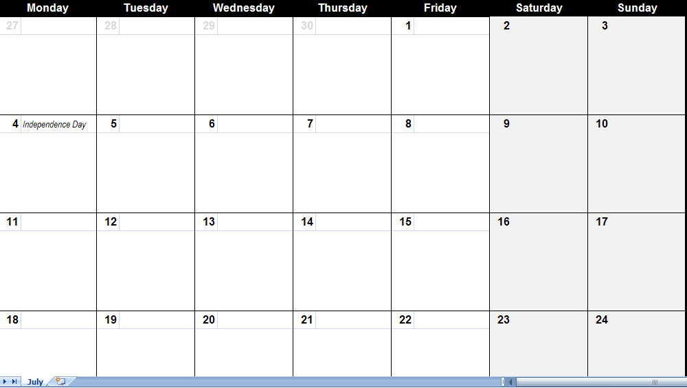 2011 Printable Excel Calendar Archives - Page 3 Of 4 - My Excel