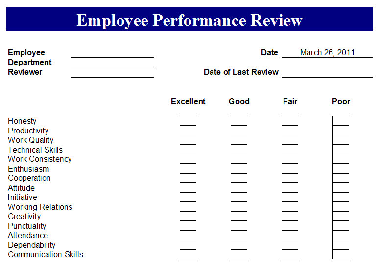 Employee performance review form employee performance for Employee performance reviews templates