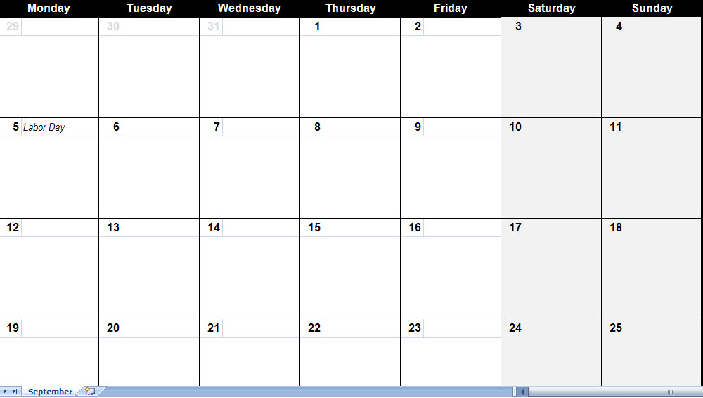 september 2011 Printable Monthly Calendar Template