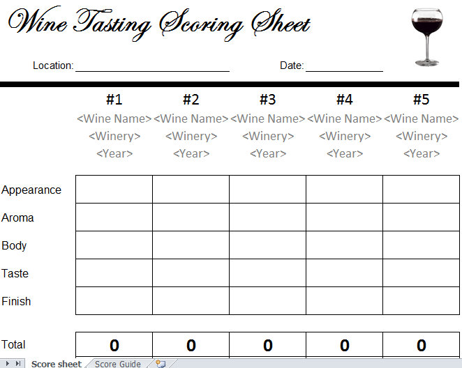Wine Tasting Scorecard Template Archives  My Excel Templates