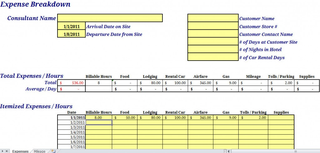 Expense Report Form With Mileage Tracker