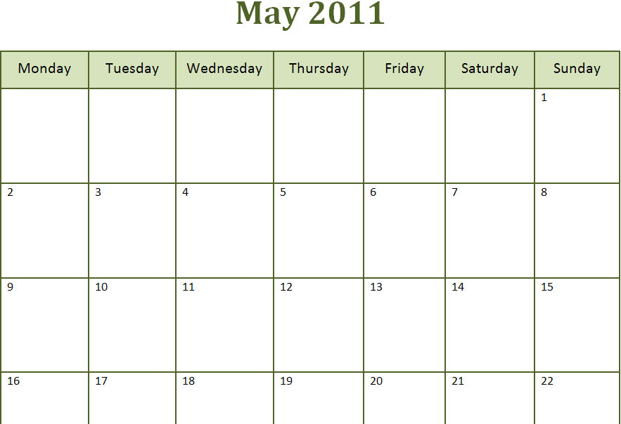 Printable Blank PDF May 2011 Monthly Calendar | Printable Blank PDF ...