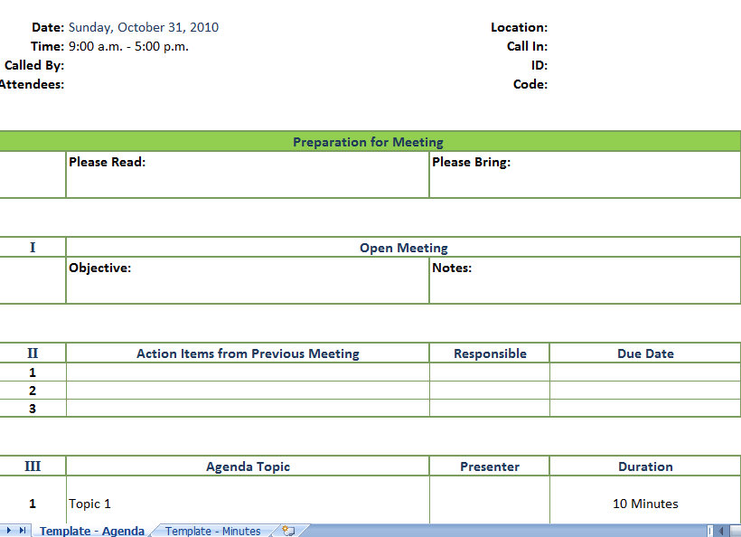 minutes of meeting template excel