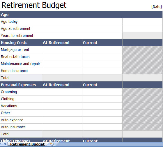 retirement spreadsheet template