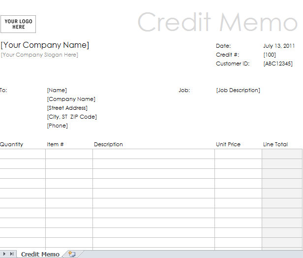 Excel credit memo example template