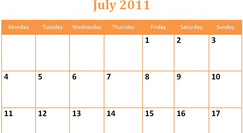 Printable Blank PDF July 2011 Monthly Calendar