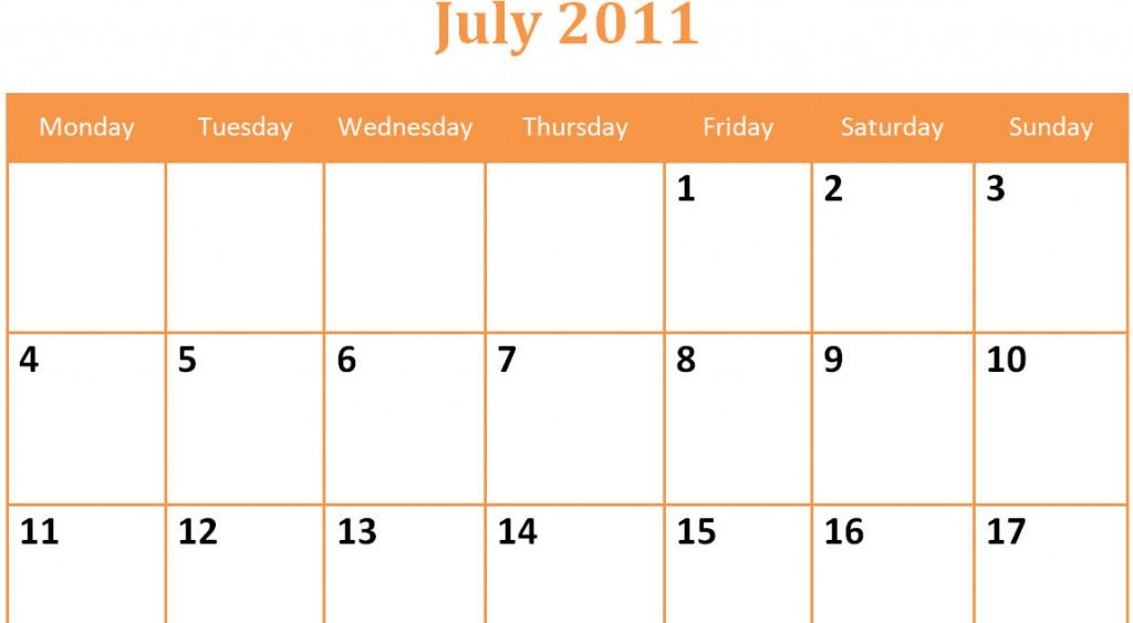 Printable Blank PDF July 2011 Monthly Calendar
