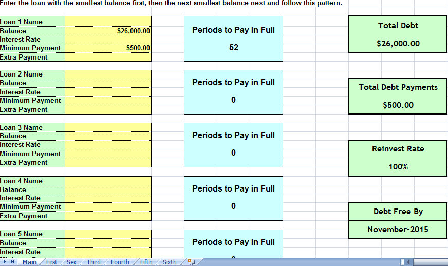 credit card debt payoff calculator excel