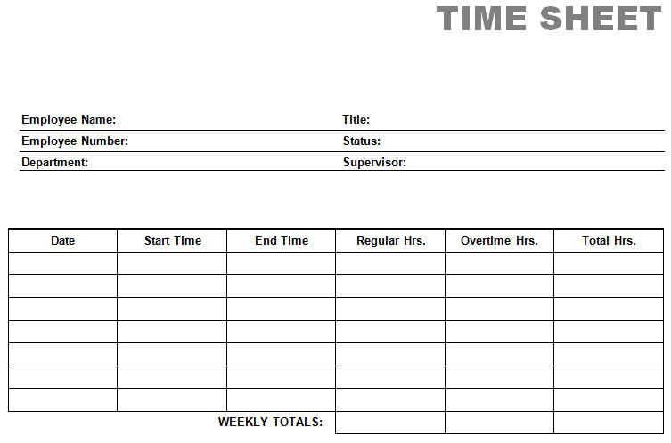 printable blank PDF time card time sheets screenshot