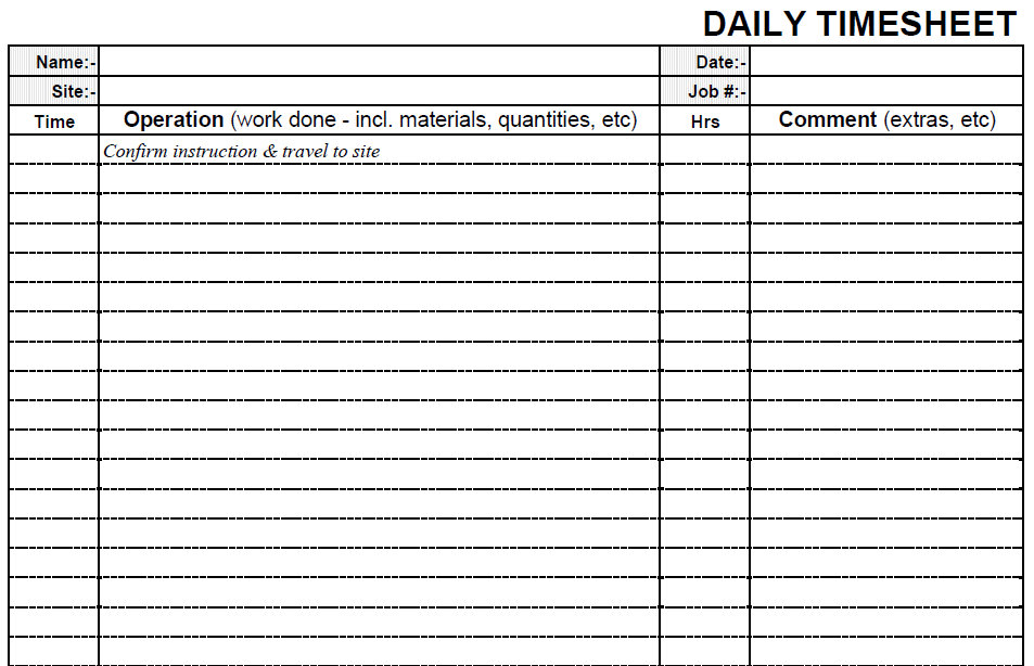 Printable Blank Daily PDF Time Sheet Form