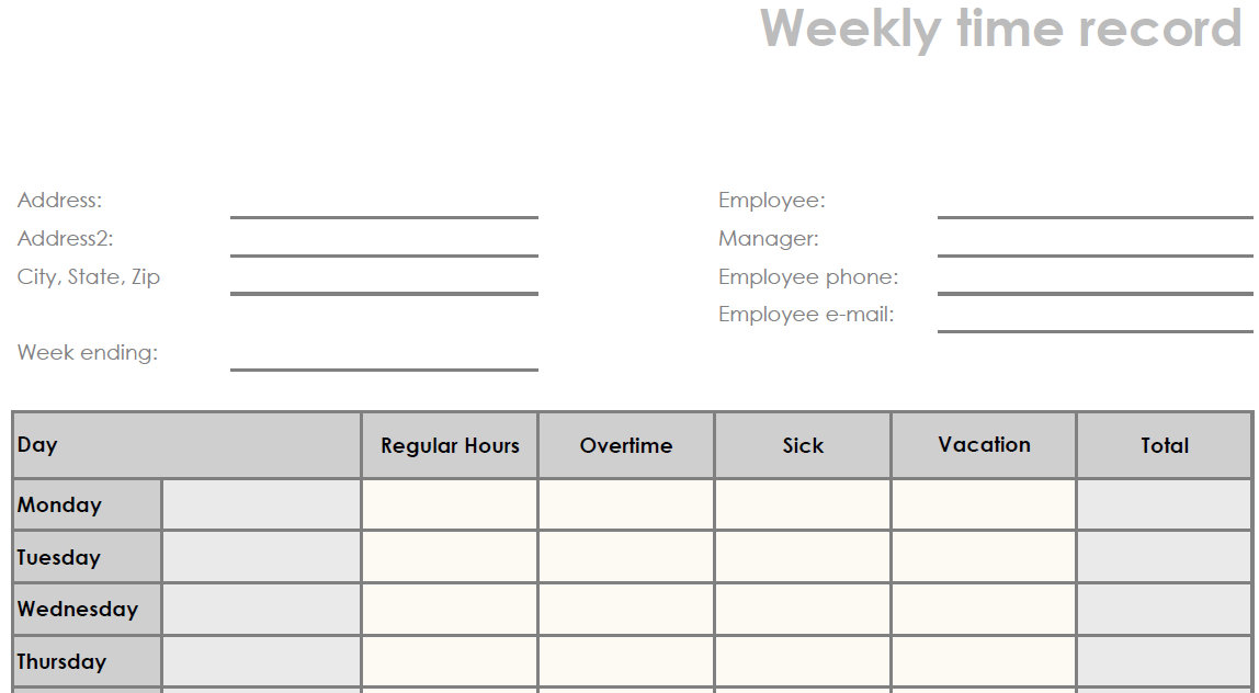 Download: Printable Blank Weekly PDF Time Sheet Form