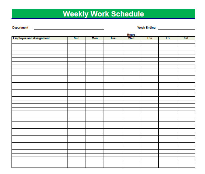 my weekly schedule template