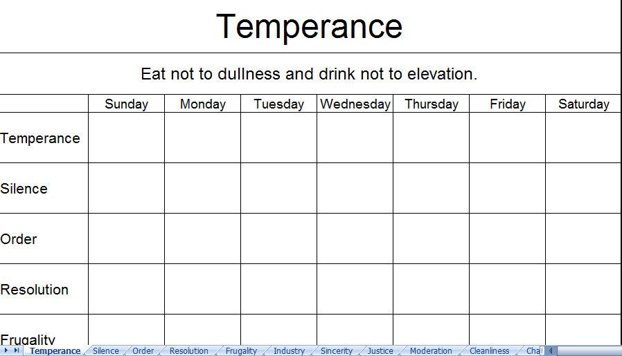 printable virtue temperance excel spreadsheet