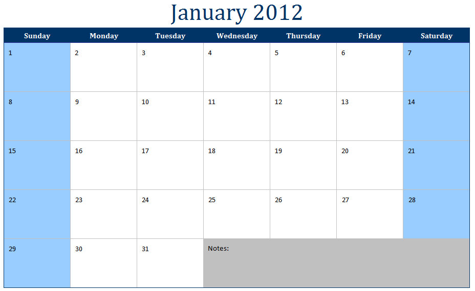 Printable Monthly Calendars Templates 2012