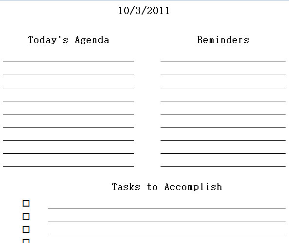 printable daily planner excel templates