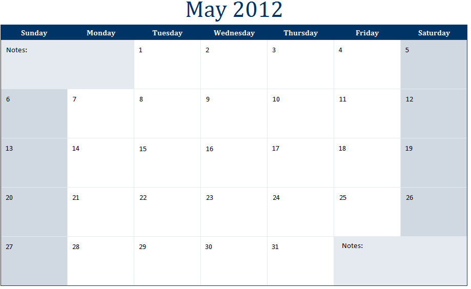 May 2012 Printable Monthly Calendar Template