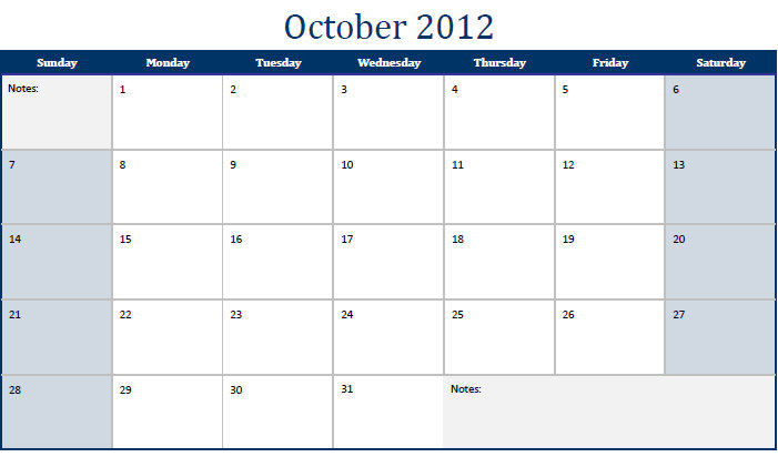October 2012 Printable Monthly Calendar Template