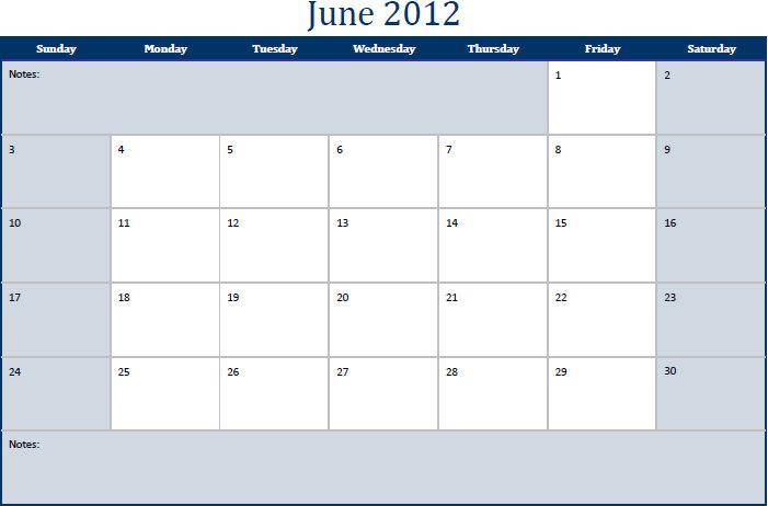 Printable PDF June 2012 Calendar