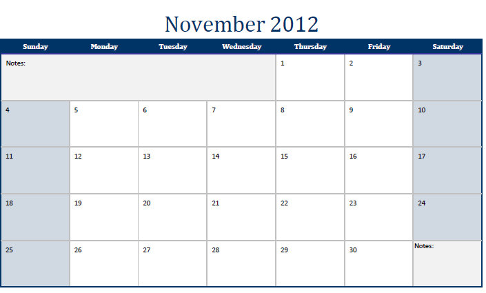 Printable PDF November 2012 Calendar