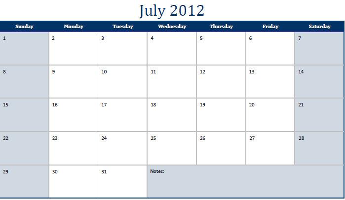 Printable PDF July 2012 Calendar