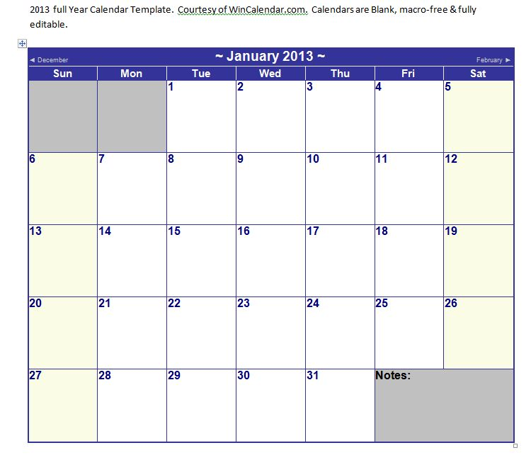 microsoft word calendar template 2013regularmidwesterners | Resume and ...