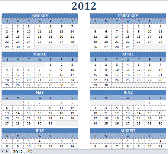 2012 Printable One Page Excel | HomeDesignPictures
