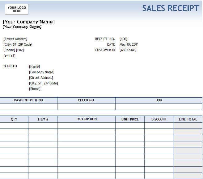 Excel Sales Receipt | Excel Receipt Template | Cash Receipt Excel